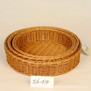 Round Plastic Rattan Storage Basket