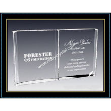 8 Inch High Crystal Open Book Plaques Award (NU-CW700)