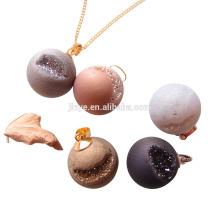 Mode Bling Naturel Agate Druzy Boule Pendentif Collier Bijoux