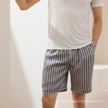 custom Casual 100% Silk Mid shorts sleepwear men silk pyjamas Printed shorts Pockets