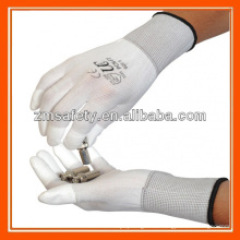 Delicate Work PU Finger Tip Coating White Nylon Inspection Gloves