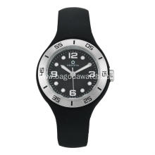 Women's black silicone strap watches