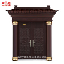 Tree bark galvanized steel swing door with crown Roman head steel pillar