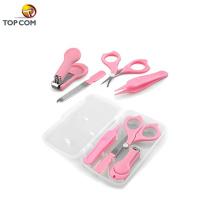 4 pcs para criança pequena e crianças caso de plástico cuidados com o bebê grooming kit cortador de unhas set