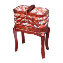 Standing Wooden Sewing Basket with Tapestry Decoration