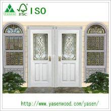 Puerta de madera de entrada blanca de moda personalizada