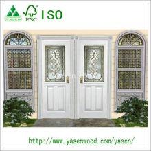 Porte en bois d'entrée blanche à la mode adaptée aux besoins du client