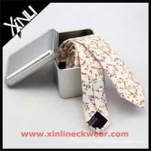 Blume Baumwolle Silber Metall Box Skinny Cotton Ties