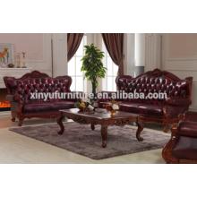 Sofá de estilo americano antiguo 1 + 2 + 3 con mesa de centro A691