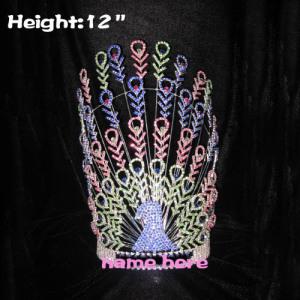 12in coronas grandes grandes de cristal del pavo real del concurso