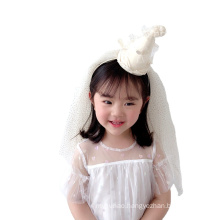 Yarn Crown Headband Long Veil Luxury Hair Accessories Korean Handmade Princess Birthday Hairband Sequins Sweet For Women Girls