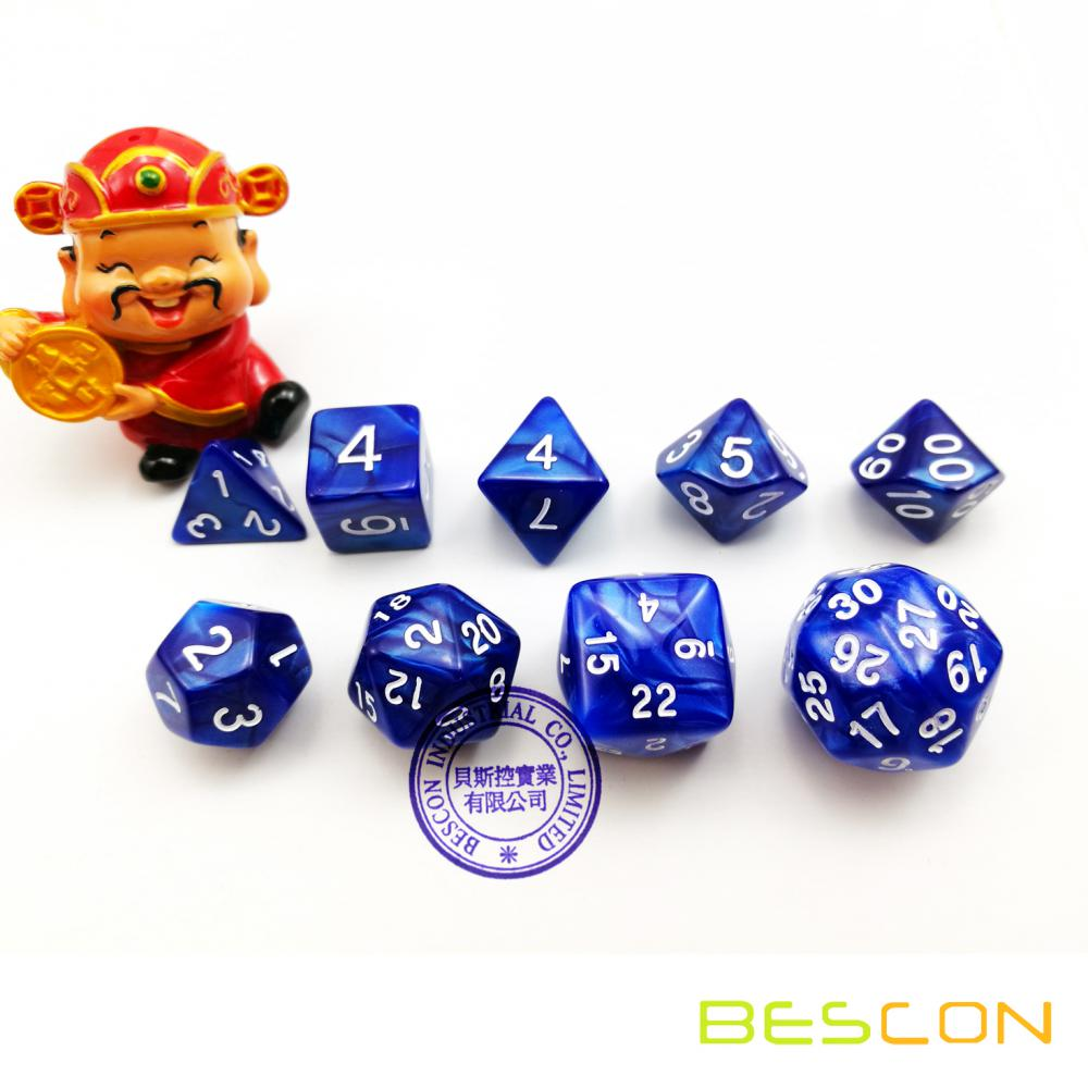BESCON Set of 9 Polyhedral Dice Die D30 D24 D20 D12 D10 D8 D6 D4 Game Dice Set Dungeons and Dragons DND MTG RPG Dice Marble Blue