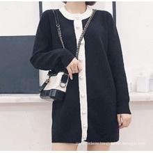 PK18ST078 white and black colour block women dresses cardigan sweaterfashion dress cashmere sweater