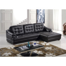 Black Color L Shape Chaise Longue Sofá de couro