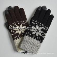 Women/Men Winter Touch Knitted Gloves Snow Flower Design Gloves