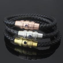 Mens Braided Leather Cord Bracelet Magnetic Buckle Bracelet