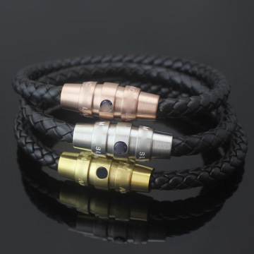 Mens Braided Leather Cord Bracelet Magnetic Buckle Bracelet