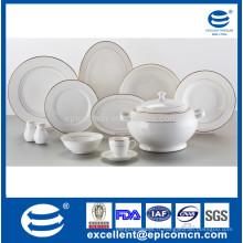 Ensemble de dîner en porcelaine super blanc 42pcs pour 6 personnes utilisant des porcelaines de vaisselle dorées