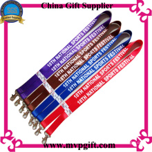 Customized Fabric Lanyard with Printing and Woven Logo (m-ly15)