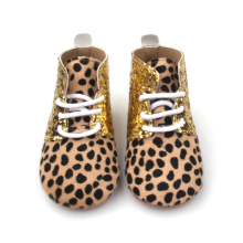 Bling Soft Sole Walking Skor Leopard Baby Stövlar