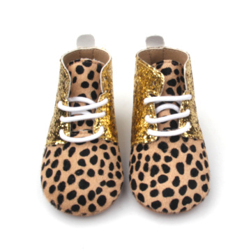 Bling Soft Sole Zapatos para caminar Leopard Baby Boots