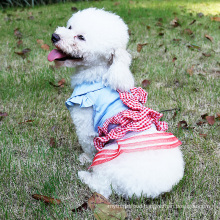 Fashion Princess Cat Dog Bridal Wedding Dress Pet Checked Design Tutu Skirt