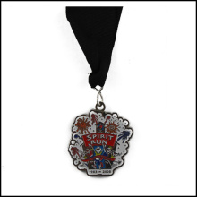 Nickel Plated Medal and Ribbon, Enamel Medal (GZHY-JZ-017)