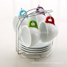 Wholesale silicone handle ceramic cup saucer set