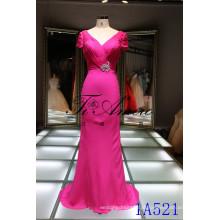 Moda quente frisada jóias vestido de noite Casaco manga v gola vestido chiffon vestidos longos