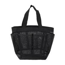 Portable Mesh Beach Bag 8-Pocket Mesh Storage Bag Transparent Travel Toilet Bag