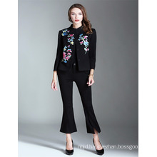 OEM Hot Sale Black 2017 Embroidered Women Wholesale Short StyleTrench Coat