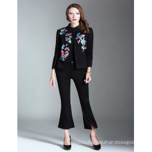OEM горячей продажи черный 2017 вышитые женщин оптом короткие пальто StyleTrench