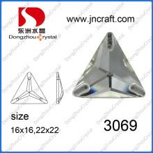 Diamantes formados triángulo espalda plana de cristal (DZ-3069)