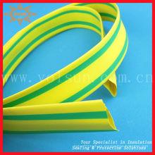 tubo de contracción de calor verde amarillo Tubo de encogimiento de calor a rayas amarillo y verde