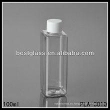 Botella para mascotas de 100 ml, botella para mascotas cuadrada de 100 ml, botella para mascotas transparente de 10 ml con tapa blanca