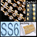 SS6 gold plating Round Cup Chain roll chaton chain