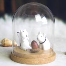 Bóveda de cristal de los tarros de la campana decorativos con la venta al por mayor de madera de la base