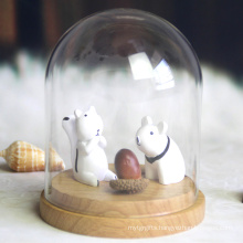 Decorative bell jars glass dome with wooden base wholesale