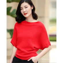100% cashmere sweater pullover with short batwing sleeve and boat neck for ladies