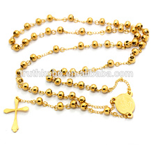 Men 316l Stainless Steel Heavy 8mm Gold Beads Virgin Mary Rosary Necklace Jesus Crucifix Cross