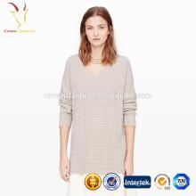 Patrón de suéter largo de ganchillo de invierno para mujer