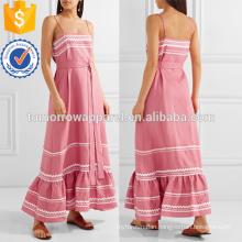 Pink Rickrack Trimmed Linen Maxi Dress OEM/ODM Manufacture Wholesale Fashion Women Apparel (TA7121D)