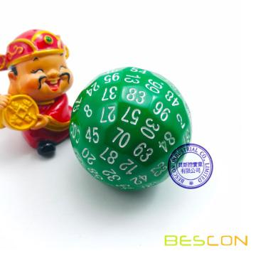 Bescon Polyhedral Dice 100 Sides Dice, D100 die, 100 Sided Cube, D100 Game Dice, 100-Sided Cube of Green Color