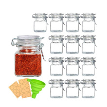 OEM 120ml 4oz Small Square Glass Mason Jars with Airtight Lid for Spices Condiments Seasoning Storage
