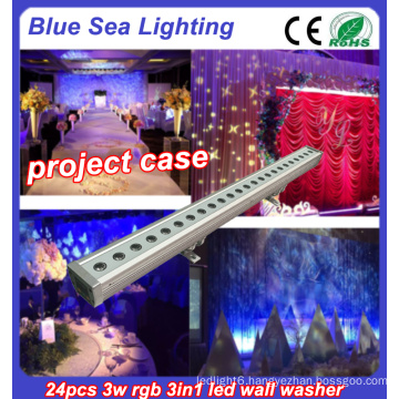 24x3w rgb 3in1 IP65 wall washer outdoor led flood light