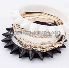 fashion jewelry multilayer punk rivet acrylic cuff bracelet bangle set