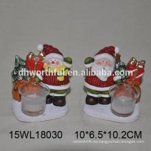 Candelabro de cerámica de tealight en santa claus / muñeco de nieve para la venta al por mayor