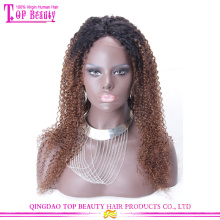 Qingdao top quality afro kinky encaracolado ombre cor peruca dianteira do laço 100% virgem brasileiro do cabelo peruca dianteira do laço