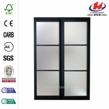 60 in. x 80-1/2 in. 2290 Series 3-Lite Tempered Frosted Glass Composite Espresso Interior Sliding Door