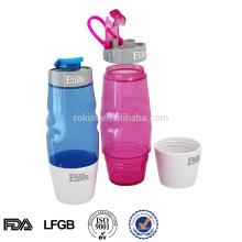 bouteille de sport en plastique innovante avec tasse sans BPA